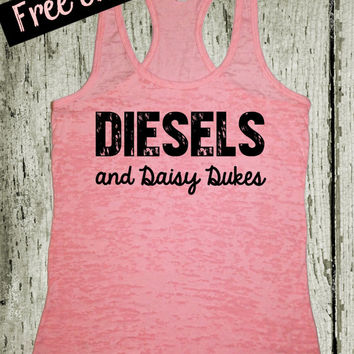 Diesels and Daisy Dukes. Southern Girl Tank Top. Pink Tank Top. Southern Country Shirt. Fitness Tank. Southern Clothing. Free Shipping