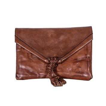 Savannah Leather Envelope Clutch and Crossbody Purse - Distressed Cognac