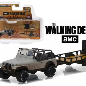 "Michonne\'s Jeep Wrangler YJ and Utility Trailer \The Walking Dead"" (2010 Current TV Series) Hitch & Tow Series 8 1/64 Diecast Model Car-by Greenlight"""