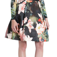 Black Floral Print Pleated Zippered Skirt