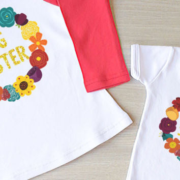 Glitter Big Sister Little Sister Outfit. Big Sister Little Sister Matching Shirts. Siblings Shirt. Big Sister Gift. New Baby Announcement.