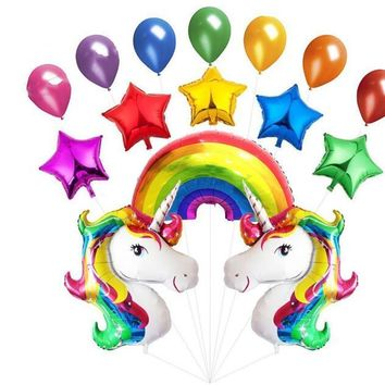 15pcs/lot Unicorn Party Rainbow Balloons Latex Foil Cartoon Animal Balloon Birthday Party Kid's Toy Gift Helium Inflatable balls