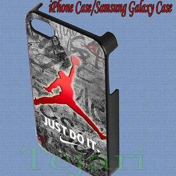 Air jordan jumpman just do it for iPhone 4/4S/5/5S/5C Case, Samsung Galaxy S3/S4 Case,