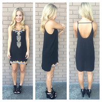 Black Embroidered Geneva Tunic Dress