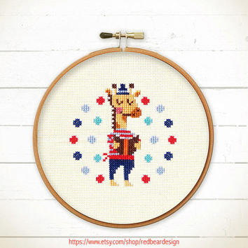 Modern Cross stitch pattern PDF - Giraffe Love Reading - Xstitch Instant download - READING POWER - Happy Heart Giraffe Cute Love Animal