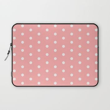 Polka dot pattern, classic pink, dotted, retro style design, white points circles, vintage pin-up Laptop Sleeve by Peter Reiss