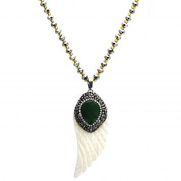 Stainless Steel 04.232.0004.31 Fancy Necklace, Teardrop Design, with Dark Brown Crystal and Emerald Opal, Polished Finish, Two Tone