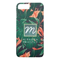 Elegant Tropical Floral Modern Gold Frame Monogram iPhone 7 Plus Case