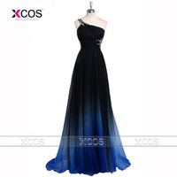 Latest Ombre Prom Dress One Shoulder Gradient Evening Dresses Beads 2016 Special Occasion Dress Backless Vestidos De Baile SA265