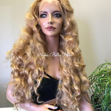 Blonde  Curly Hair Blend Multi Part SWISS Soft Multi Parting Lace Front Wig - Halley 91714 ON SALE