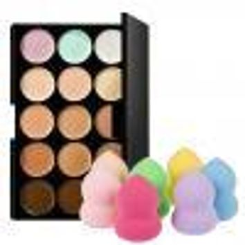 FACE MAKEUP Contour Concealer Palette Make up Base + Sponge Puff (15 colors)