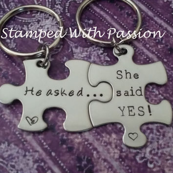 His and Her Puzzle Piece Keychain Set   - Engagement Gift - He Asked... She Said YES! - Proposal Gift - Married Couple