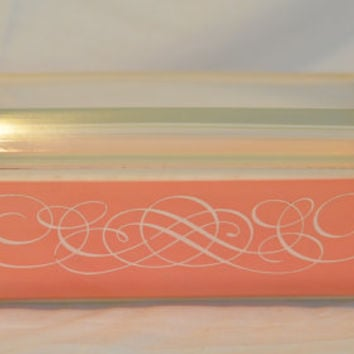 Vintage Pink Scroll PYREX Space Saver Promotional Retro 1950s