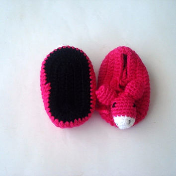 animal baby shoes, fushia pink baby girl shoes, baby shower gifts, crochet baby shoes booties mouse donkey animal baby shoes booties