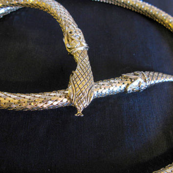 Whiting and Davis Snake Jewelry, Vintage Gold Mesh Necklace Belt, Signed Serpent Head, Shiny