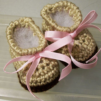 Baby Girl Ankle Boots Tan with Pink ribbon-Crochet -Baby Shower Gift