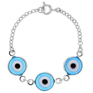 In Season Jewelry Silver Plated Turkish Light Blue Evil Eye Protection Amulet Baby Bracelet 45quot