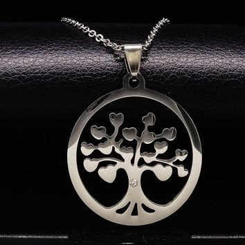 Tree of Life Pendants Necklaces Women Men Jewelry Tree Statement Stainless Steel Chain Necklace Tree of Neckless collares N16812