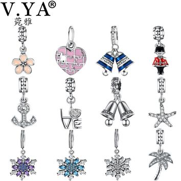 V.YA 100% 925 Sterling Silver Charms fit for Pandora Bracelets Bangles Women's Men's DIY Bead Charm for Jewelry Making Accessory