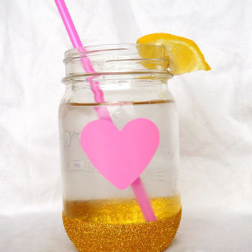 PINK Heart with Gold Glitter GLASS Mason Jar-- 1ct -- No Lid