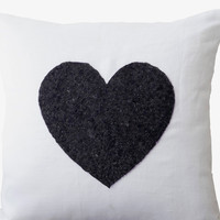 White linen heart pillow covers - black sequin heart pillow - Decorative cuhion covers - Gift - Throw pillow 16X16 Sofa pillow- Heart pillow