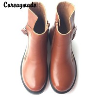 "Careaymade-fashion boots,Head layer cowhide pure handmade ankle half short boots ,""Sen female"" casual Martin women's Boots"