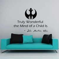 Star Wars Wall Decal Quote Jedi Master Yoda Truly Wonderful the Mind of a Child Is Vinyl Sticker Decals Home Decor Nursery Bedroom Art Design Interior NS957