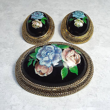 Vintage Clip on Earrings Brooch Set Pink Blue Black Rose Flower Design Gold Tone Floral Womens Retro Jewelry