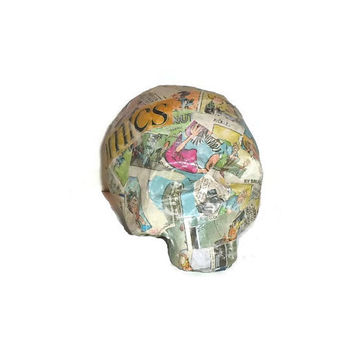 Paper Mache Skull Comic Art Conversation Piece Home Decor