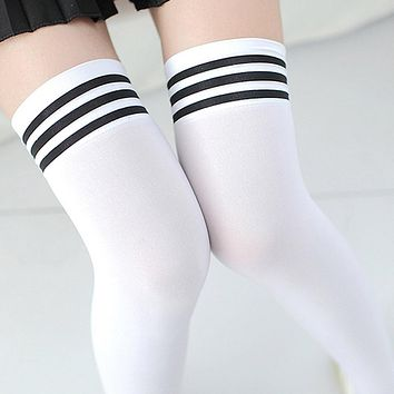 bd6d8c771 Sexy Medias Fashion Striped Knee Socks Women Cotton Thigh High O