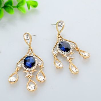 Shining Austrian Crystal Big Chandelier Earrings