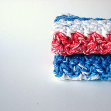 Cotton Crochet Washcloths Bathroom Home American Stripes Eco Friendly Set of 2 - READY TO SHIP - Limited Edition
