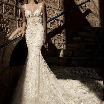 [295.99] Gorgeous Tulle Sweetheart Neckline Mermaid Wedding Dresses with Beaded Lace Appliques - dressilyme.com