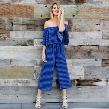 Caught My Eye Stripe Jumpsuit in Blue
