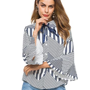 Blue Stripe Bow Tie Front Flare Sleeve Shirt