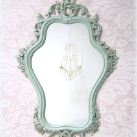 SHABBY CHIC MIRRORS For Sale Vintage Framed Shabby Chic Nursery Mirror Mint Green Baby Nursery Decor French Country Decorative Roses
