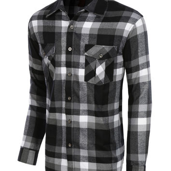 LE3NO Mens Lightweight Plaid Button Down Flannel Shirt (CLEARANCE)