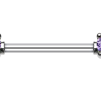 Double Prong Glass-Gem Nipple Barbell Ring
