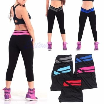 Womens Workout Print Pants Leggings Fitness Stretch Trouser New W730