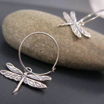 Silver jewelry, dragonfly hoop earrings in sterling silver