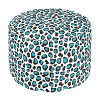 Turquoise Teal Blue Leopard Animal Print Girls Pouf