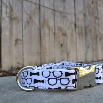 Black and White Bowtie and Glasses Dog Collar, White and Black Dog Collar, White Dog Collar, Black Dog Collar, Female and Male Dog Collar