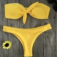 Sexy hot pure color bowknot strapless two piece bikini yellow