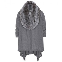 alice + olivia - izzy cascade wool and cashmere cardigan with detachable fur collar