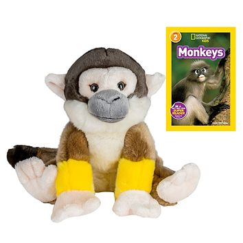 10 Inch Plush Squirrel Monkey Stuffed Animal Set with National Geographic Readers Monkeys (L2)