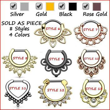 ac ICIKO2Q G23 Titanium Tribal Fan Real Septum Clicker Piercing Septo Nose Ring Jewelry 16g Silver Black Rose Gold Cartilage Earrings