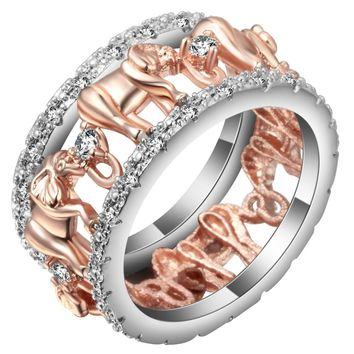 Lucky 3D Elephant Ring Jewelry Rose Gold Color Cute Cubic Zirconia Animal Wedding Bands Party Cocktail Ring For Women Men Gift