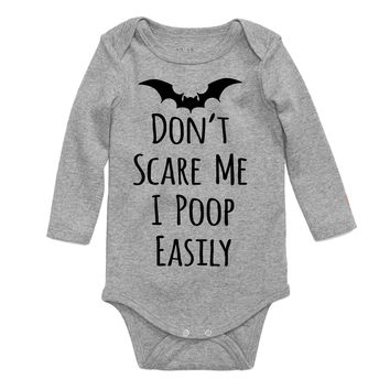 Dont Scare Me I Poop Easily Funny Halloween Long Sleeve Baby Bodysuit