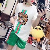 """Gucci"" Women Casual Fashion Embroidery Tiger Head Letter Multicolor Stripe Short Sleeve Shorts Set Two-Piece Sportswear"
