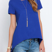 Fall Fashion Blue Short Sleeve High Low Blouse